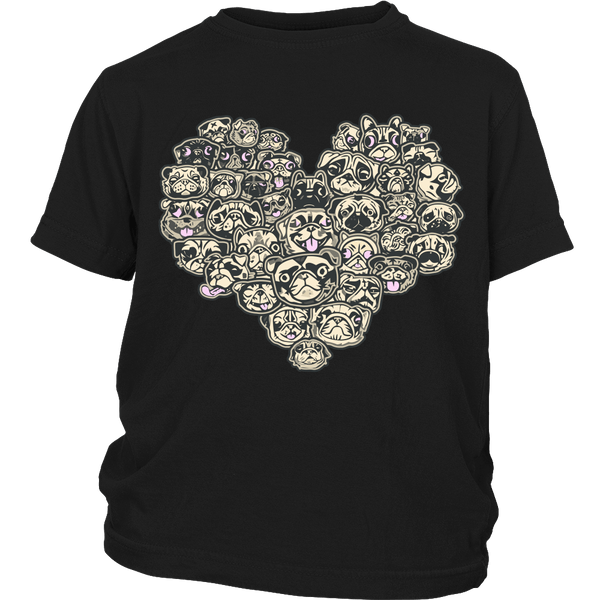 Heart Of Pugs Kids T-shirt - the passionate pug - District Youth Shirt / Black / XS - 4