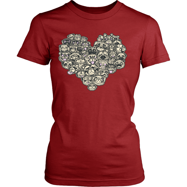 Women's Heart Full Of Pugs T-shirt - thepassionatepug - District Womens Shirt / Red / XS - 3