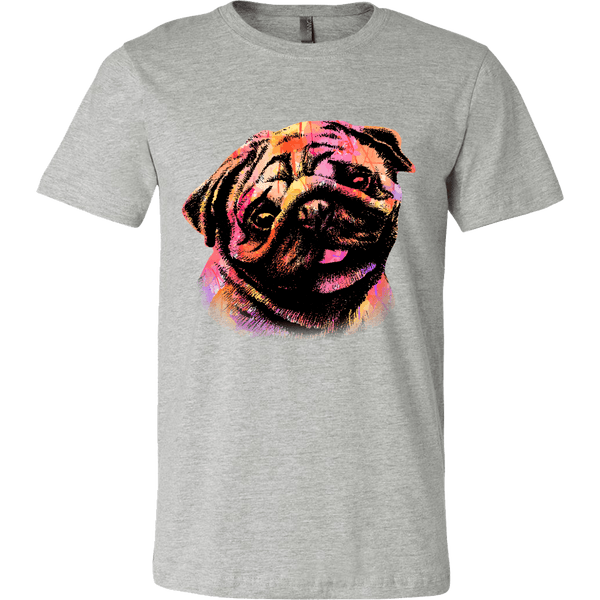 Men's Watercolor Pug T-shirt - thepassionatepug - Canvas Mens Shirt / Athletic Heather / S - 3