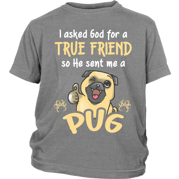 God Sent Me A True Friend Kids T-shirt - the passionate pug - District Youth Shirt / Sport Grey / XS - 4