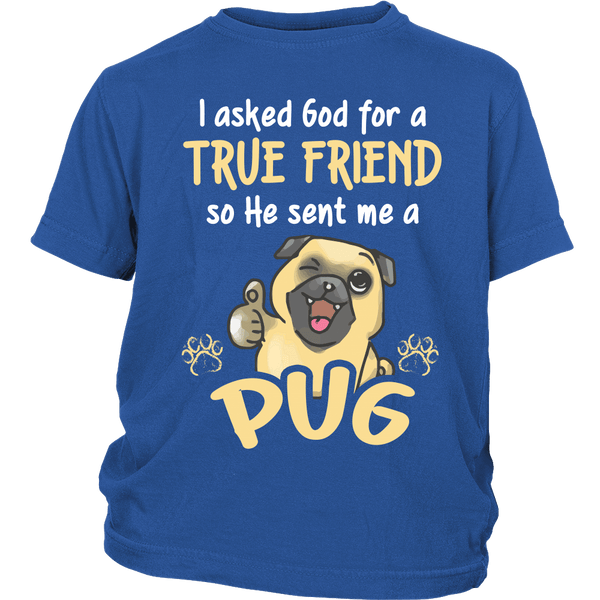 God Sent Me A True Friend Kids T-shirt - the passionate pug - District Youth Shirt / Royal Blue / XS - 1