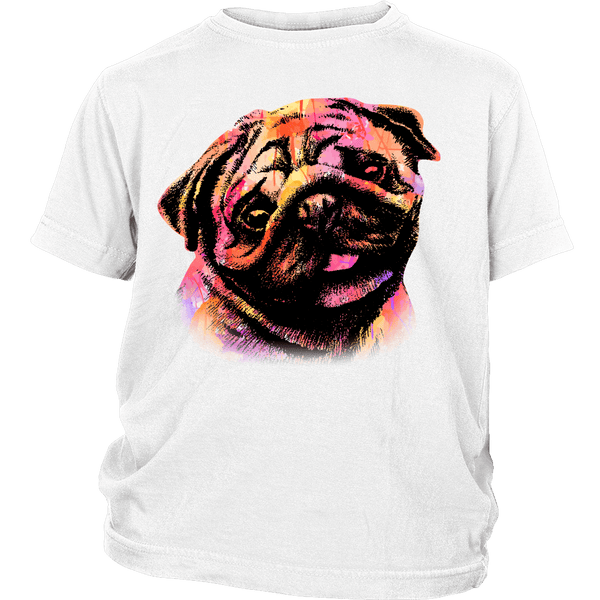 Watercolor Pug Kids T-shirt - the passionate pug - District Youth Shirt / White / XS - 1