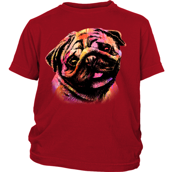 Watercolor Pug Kids T-shirt - the passionate pug - District Youth Shirt / Red / XS - 3