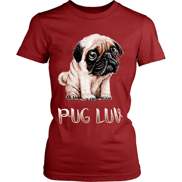 Women's Pug Luv T-shirt - the passionate pug - District Womens Shirt / Red / XS - 8