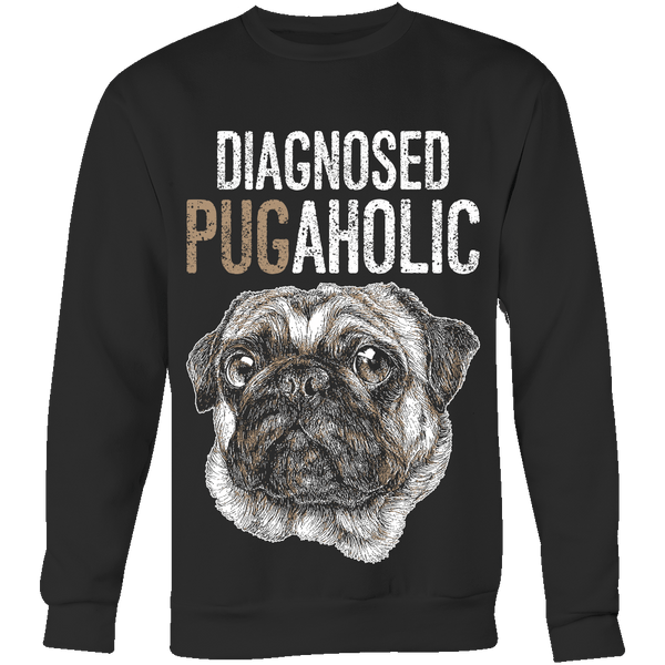 Diagnosed Pugaholic Hoodie - the passionate pug - Crewneck Sweatshirt / Black / S - 5