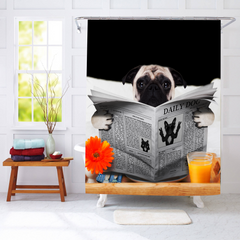 Pug News Shower Curtain