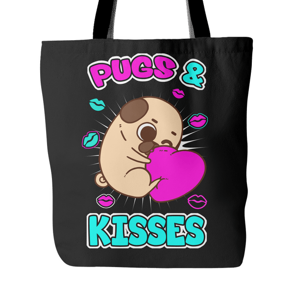 Pugs And Kisses Tote Bag - thepassionatepug - Black - 1