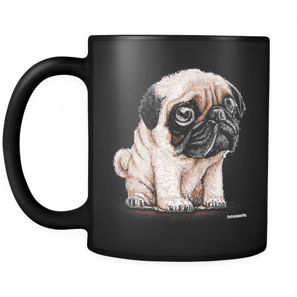 The Cutest Pug Black Coffee Mug