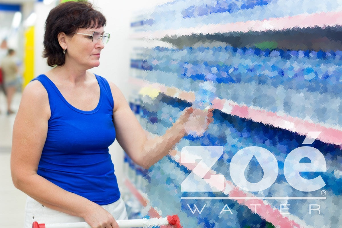 Woman shopping for bottled water: Hydration in adulthood