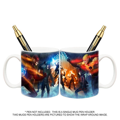 DC Comics Arrow and Flash TV Super Hero Fight Club Mug Pen Holder