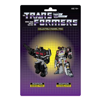 Transformers Nemesis Prime X Soundblaster Retro Pin Set Exclusive - Available 3rd Quarter 2021 - Icon Heroes