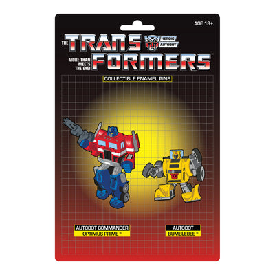 Transformers Optimus Prime X Bumblebee Retro Pin Set - Available 3rd Quarter 2021 - Icon Heroes