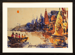 A Painting of Panorama of Ghats in Varanasi