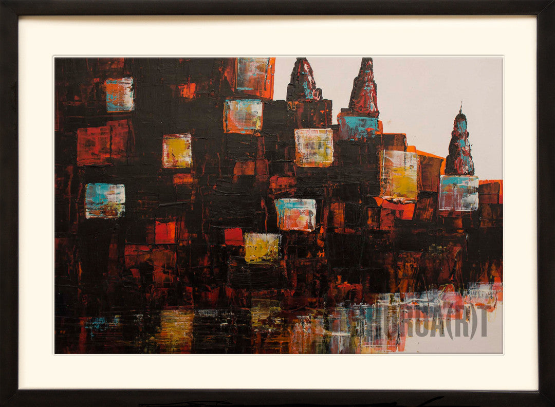 Abstract painting of Ghats of Varanasi
