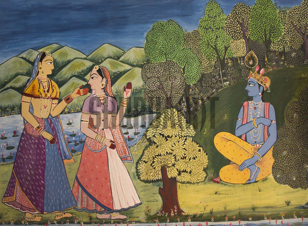 Miniature painting of Krishna