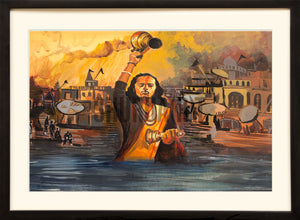 Painting of a Gangaa Aarti in Benares