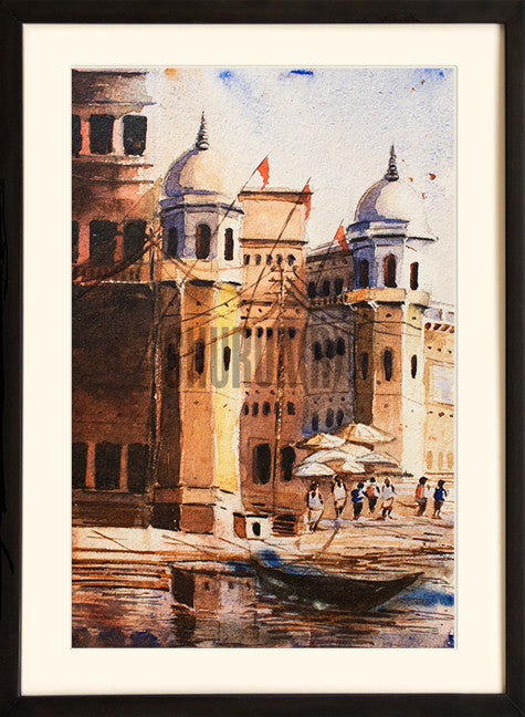 A Painting of Beautiful Ghats in Varanasi