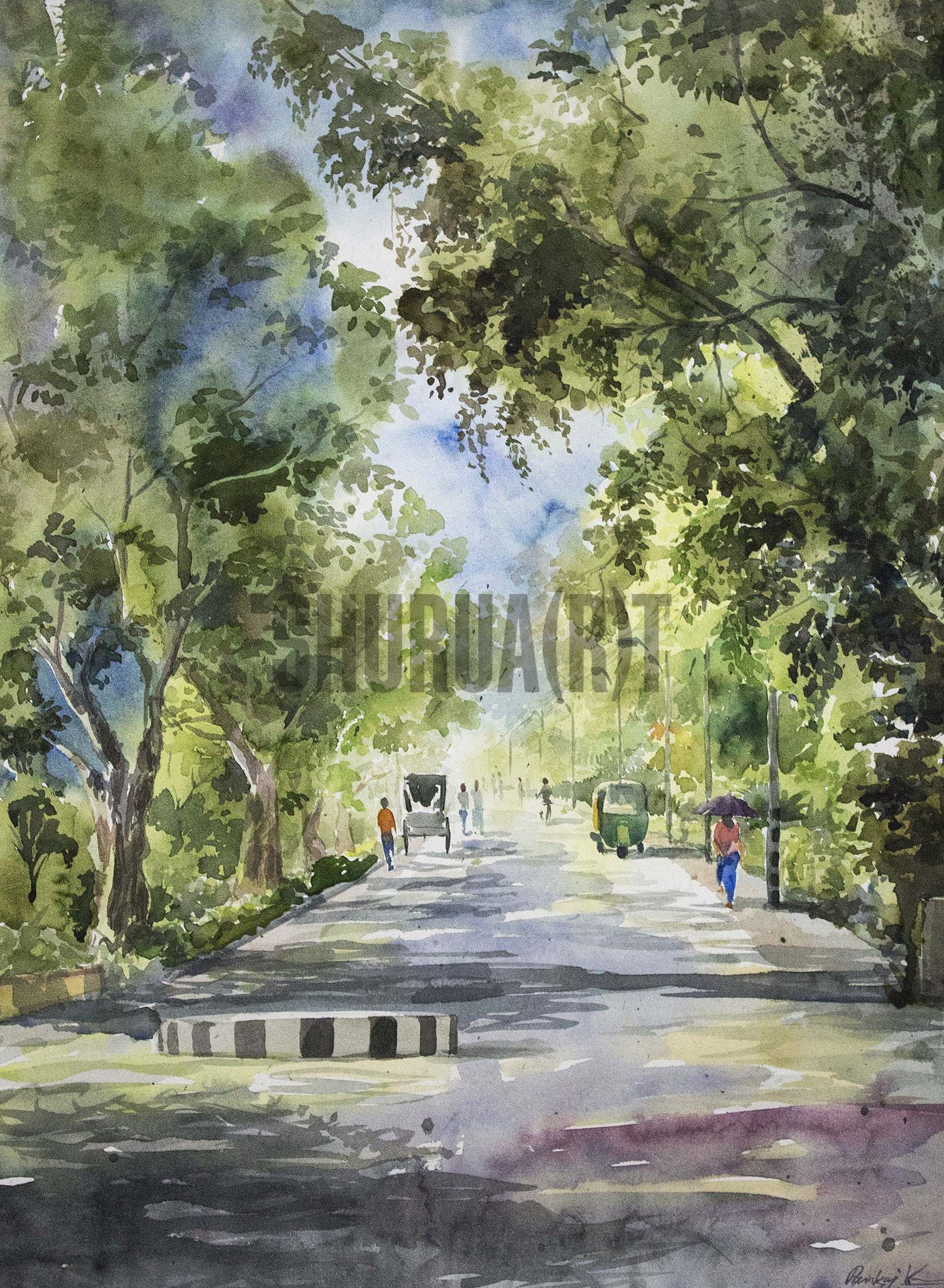 Landscape painting of a street in Banaras Hindu University