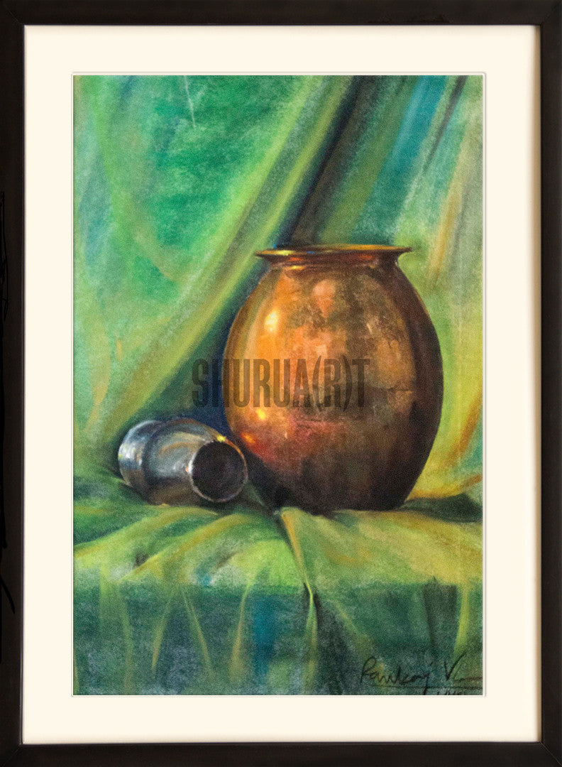 Still Life painting of a bronze water container
