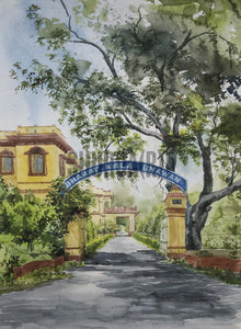 Painting of iconic Bharat Kala Bhavan in Banaras Hindu University