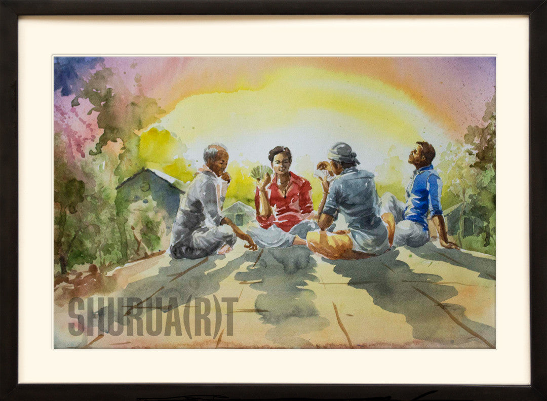 Painting of a group playing cards in an Indian Village