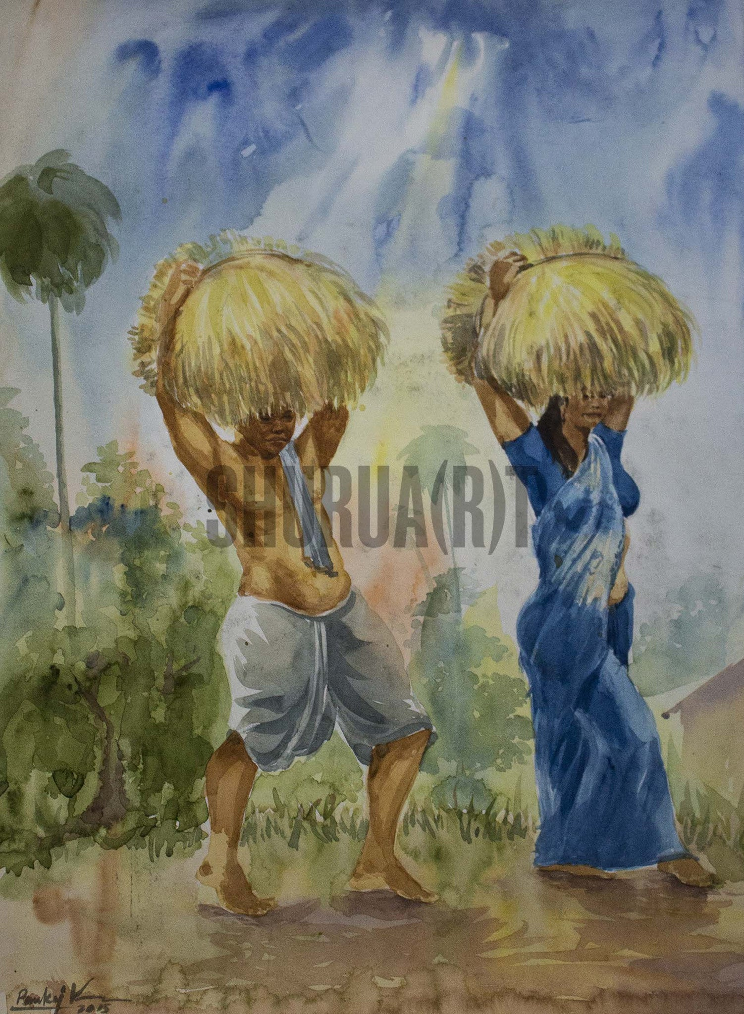 Painting of a couple carrying harvest in an Indian Village
