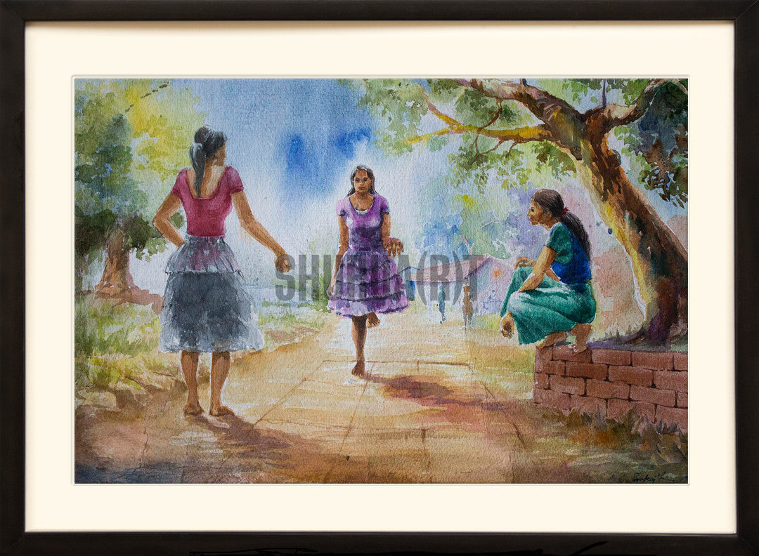 Painting of young girls playing in an Indian Village