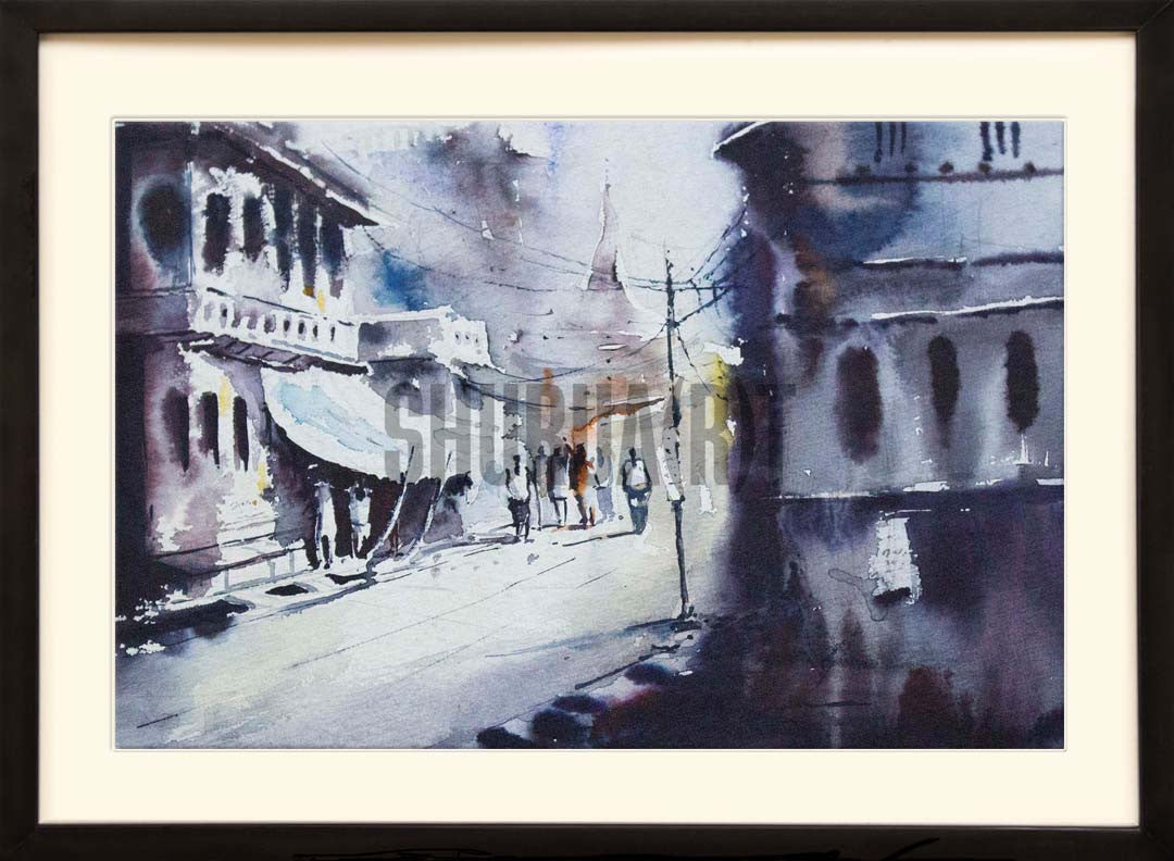 A landscape painting of a Road  in Banaras: Digital Print of a road in Varanasi