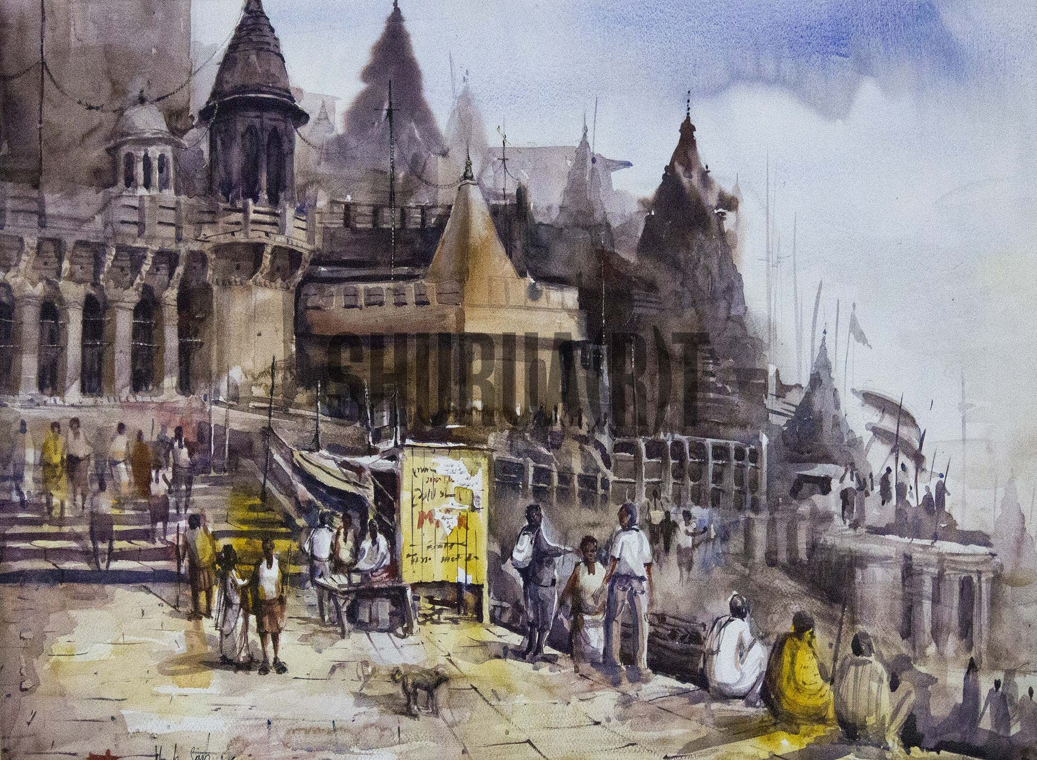 A beautiful painting of a ghat in Banaras