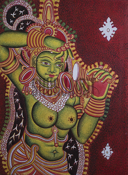 Original Panting of A Figure in Kerala Mural Style