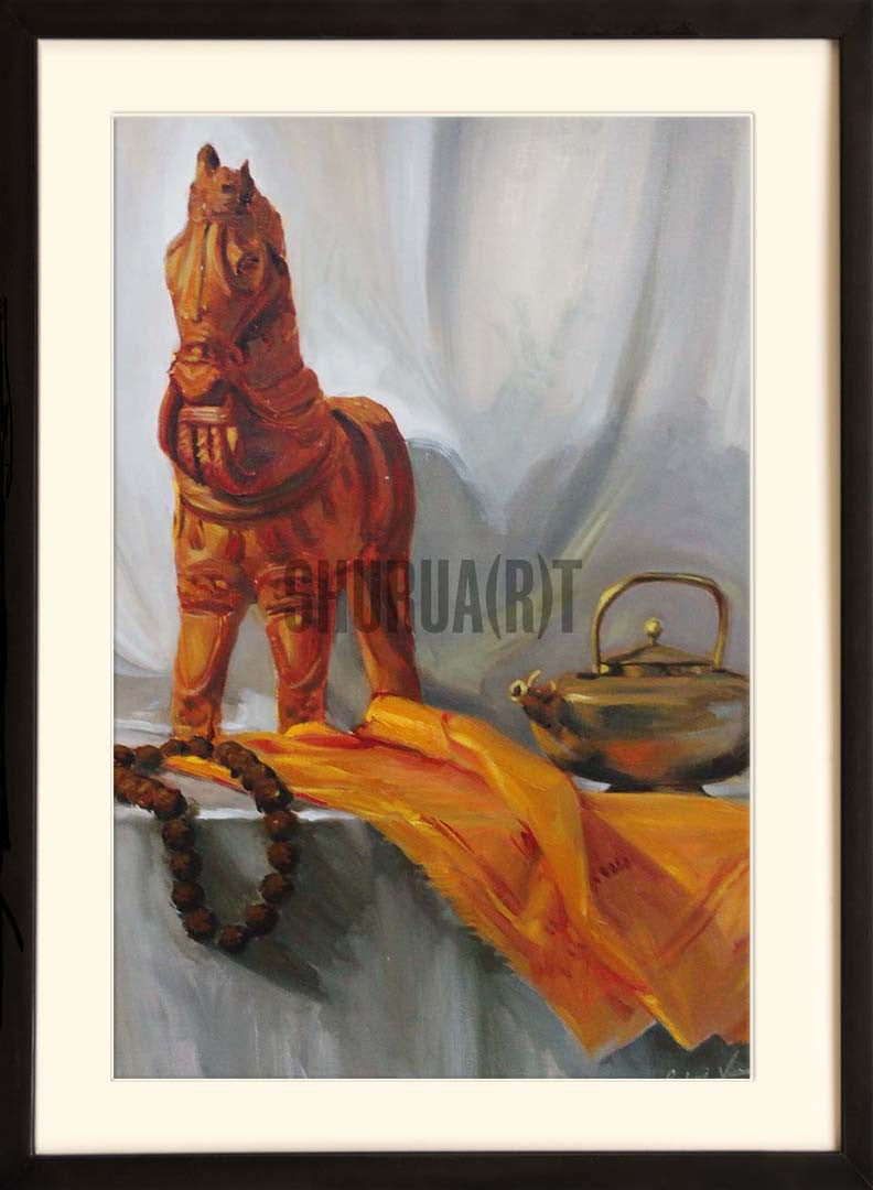 Still Life painting of belongings of a Sadhu