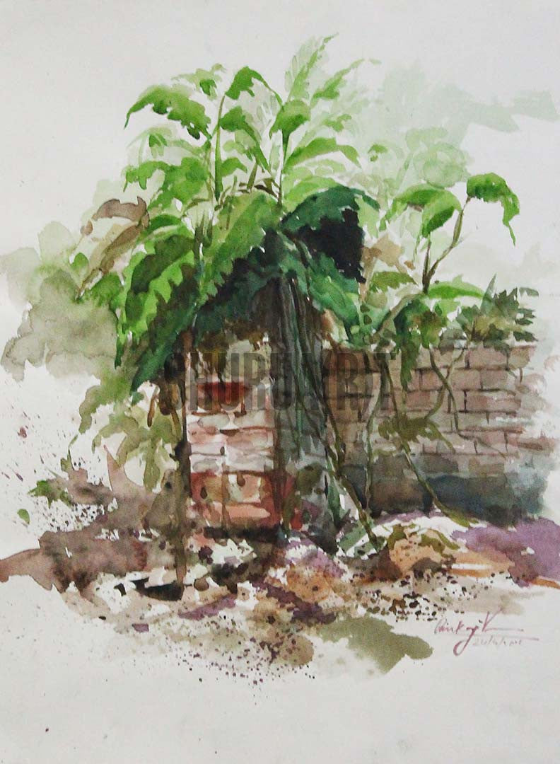 Painting of a garden in a village house