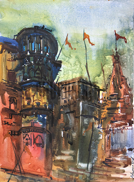 Temples and Buildings on Ghats in Varanasi