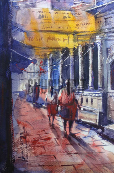 A landscape painting of narrow bylanes of Banaras