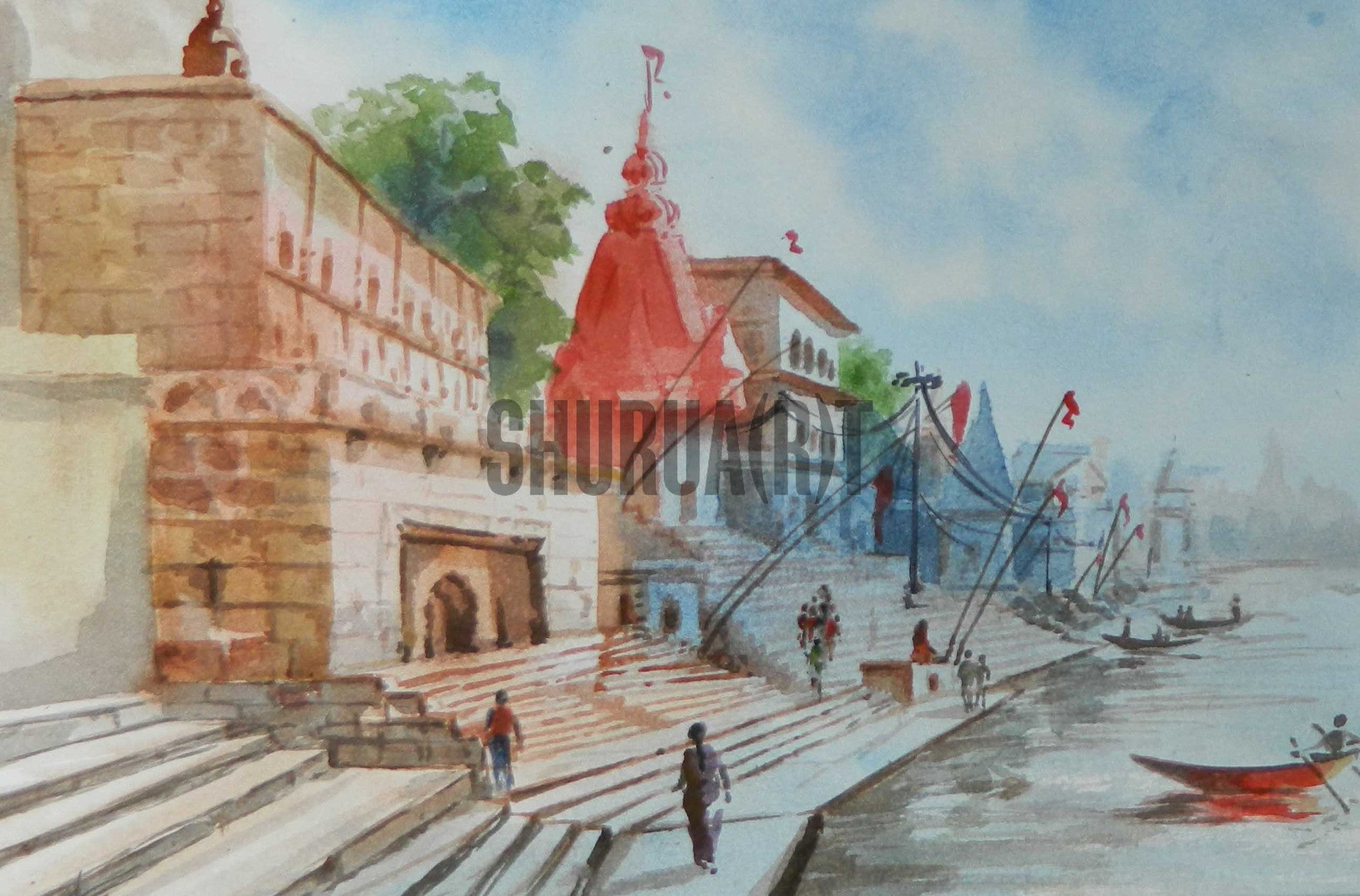 Painting of a Varanasi Ghat