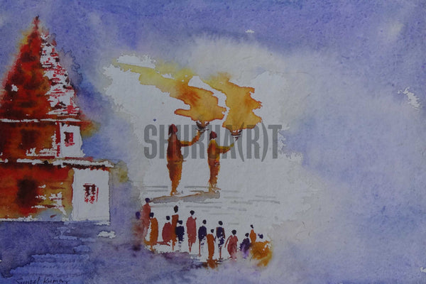 Painting of famous Ganga Aarti in Varanasi