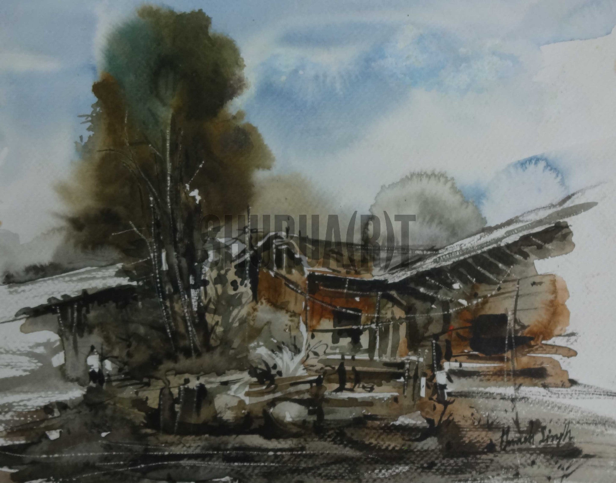 Painting of a village