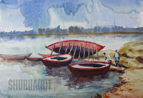Painting of boats in Ganges in Varanasi