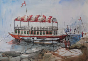 Painting of a boat in Ganges in Varanasi