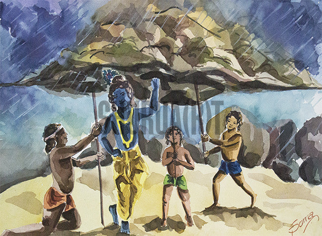 God Krishna Lifting Mountain Govardhan