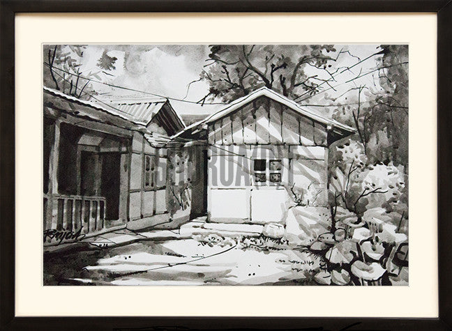 Painting of a house in Sikkim