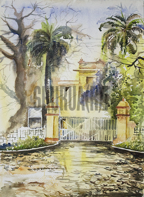 Painting of a building inside Banaras Hindu University