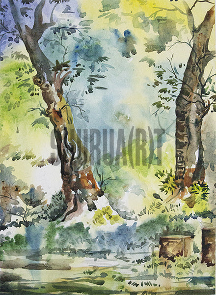 Painting of trees inside Banaras Hindu University Campus