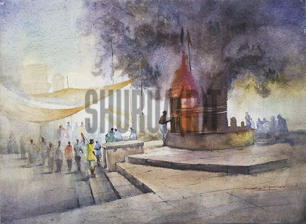 Painting of a Assi Ghat in Benares