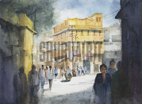 Painting of a street in Benares