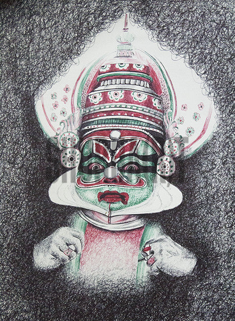 Painting of a Kathakali Artist