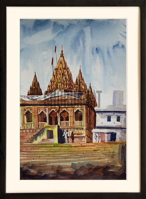 A landscape painting of temple at Assi Ghat in Varanasi