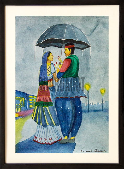 A Loving Couple under an Umbrella