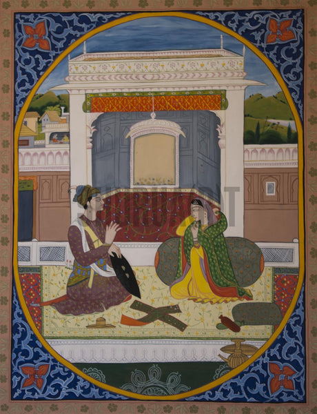 Miniature painting showing a couple enjoying a game in a courtyard