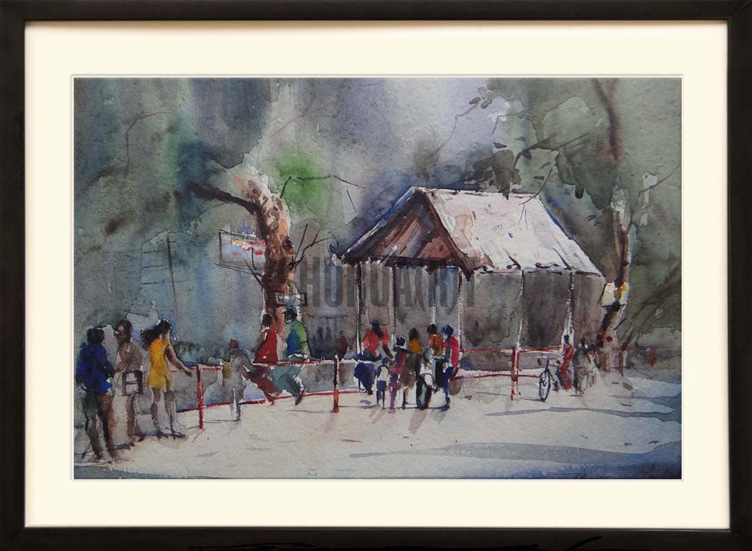 Painting of a crossing in Banaras Hindu University